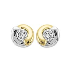 Diamond Earrings Design | 10k Two Tone Gold Diamond Stud Earrings 008 Carat ** Details can be found by clicking on the image. Note:It is Affiliate Link to Amazon.