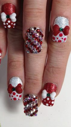 Christmas nails 3d nails upland swarovski