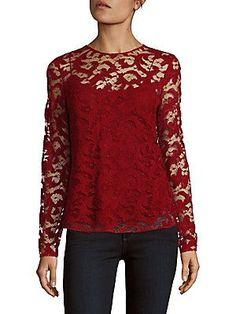 Oscar de la Renta Long-Sleeve Lace Top - Ruby - Size 6