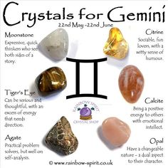 Gemini Birthstones with crystal healing explanations, a crystal set poster by Rainbow Spirit crystal shop Chakra Crystals, Crystals And Gemstones, Stones And Crystals, Chakra Stones, Gemini Birthstone, Cristal Art, Les Chakras, Crystal Healing Stones, Crystals For Healing