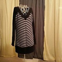 Sweater dress Black with silver stripes, sweater dress DKNY DKNY Sweaters