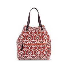 Women's Reversible Tribal Print Tote Handbag - Cognac/Red ($50) ❤ liked on Polyvore featuring bags, handbags, tote bags, red, fancy purses, red tote, reversible tote, red tote bag and cognac purse