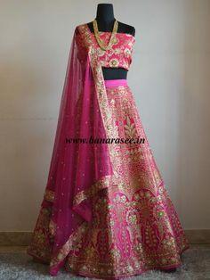 Banarasee/Banarasi Handwoven Art Silk Semi-stitched Lehenga & Blouse With Handwoven Embellishments Fabric-Hot Pink