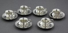 19th Century Antique Dutch Miniature Silver Teacup and Saucer Set (6 of each)