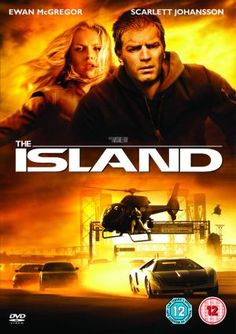 "The Island movie cover - very neat concept here. I like how the two ""scenes"" are split by the title."