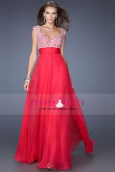 2015   A-Line Beaded Princess Floor Length Chiffon Prom Dresses And Ruffled With Beaded