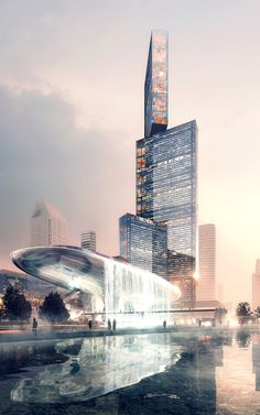 The Nexus Building (on the right), a proposed design by PLP Architecture, would utilize a tripod shape to provide both support and open floorplates. All images via PLP Architecture....