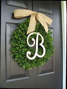 Monogram Boxwood Wreath Fall Monogram Wreath with by ElegantWreath