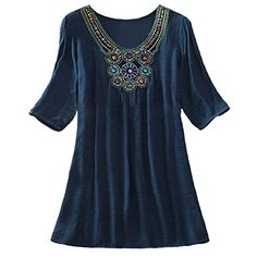 100636c599e796 Women's Bohemian Beach Tribal 3/4 Sleeve Embroidery V Neck T-Shirt Top Shirt.  Loose ShirtsTee ...