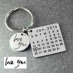 b611a781865ab Calendar Keychain   Anniversary Gift For Girlfriend Or Boyfriend    Personalized Keyring