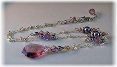 New w/Swarovski Light Amethyst/Mauve Pearl Baroque Pendant Vintage Necklace #Jewelry #Deal #Fashion