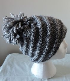 Spiral Loose Pom Pom Hat by woolhousecasalana on Etsy