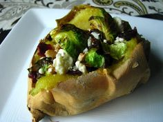 stuffed sweet potatoes w/ craisins, feta, walnuts & grilled brussels sprouts | two foodies & a pup