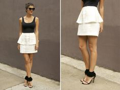DIY Peplum skirt from 'fishtail' skirt. idea from a pair & a spare'. Geneva is a genius!