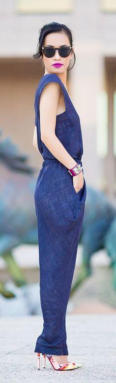 street style fashion blue dress