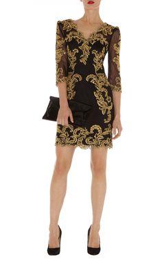 Karen Millen Baroque Mesh Dress in Black