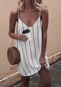White Striped Condole Belt Plunging Neckline Fashion Mini Dress