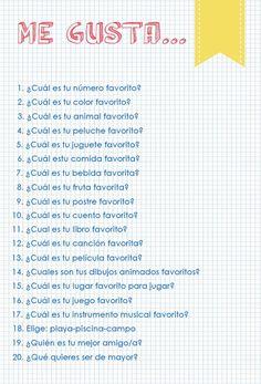 Cosas favoritas. 20 preguntas, 20 respuestas. | La Gallina Pintadita
