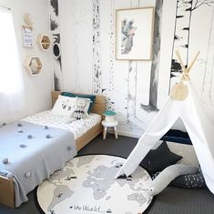 Love this cute little boy's room! OYOY The World Rug available online ♡
