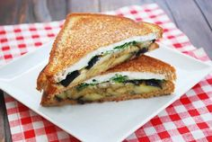 Warm eggplant sandwich - a delicious, filling vegetarian sandwich filled with roasted eggplant, goat cheese and basil.