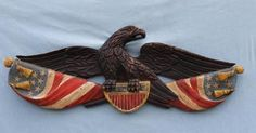 Antique American WWI Hand Carved Painted Folk Art Patriotic Eagle Flag Carving