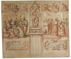 Francesco Allegrini (1615/20-1679), DESIGN FOR A WALL DECORATION, Pen and brown ink and red wash