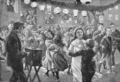 """""""Ein Fest der Mieter in Berlin"""" (Lampionfest im Hinterhof).  Holzstich nach einer Zeichnung von Werner Zehme, um 1900."""