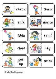 action words domino worksheet - Free ESL printable worksheets made by teachers English Games, Kids English, English Activities, English Study, English Lessons, Learn English, English Verbs, English Vocabulary, English Grammar