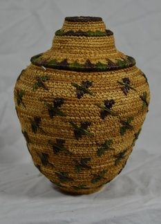 Native American bird basket with lid. Little is known about this basket, but it is believed to have been purchased in Alaska in the 1990s