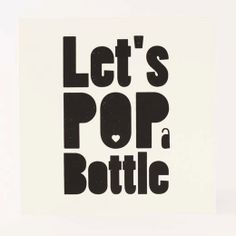 WOW  Screenprinted card  Pop a bottle  black  by WOWforyou on Etsy, $4.00