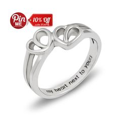 Promise Ring Double Hearts My Heart Next to Yours Best Gift for Girlfriend, Boyfriend Stainless Steel