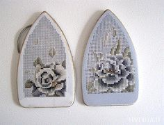 I recently posted cross stitch on a strainer and today I have another beautiful embroidery piece, this time on the iron plate covers. And if this is intriguing to you pop on over to The Gallery of … Embroidery Art, Cross Stitch Embroidery, Cross Stitch Patterns, Embroidery Hoops, Embroidery Patterns, Textiles, Muebles Shabby Chic, Contemporary Embroidery, Yarn Bombing