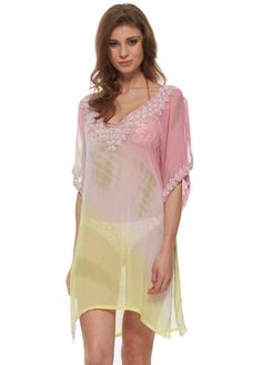 Lindsey Brown Tropical Paradise Zanzibar Silk Kaftan In Clematis