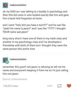 not-jason - Funny Troll & Memes 2019 Funny Shit, The Funny, Hilarious, Funny Stuff, Tumblr Stories, Funny Stories, Funny Tumblr Posts, My Tumblr, Funny Quotes