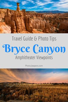 If you're heading to Bryce Canyon National Park, you'll want to check out this Bryce Canyon guide first. It includes the best Bryce Canyon Amphitheater Viewpoints Travel Guide and some tips to help you take better pictures while traveling. You'll want to save this to your travel board.