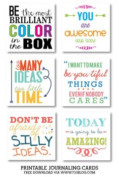 Journaling Cards - Inspiration Made Simple - Free printable journaling cards for use in scrapbooks and more! Printable Quotes, Printable Planner, Planner Stickers, Free Printables, Printable Cards, Playroom Printables, Scrapbook Stickers, Lunch Box Notes, Project Life Cards
