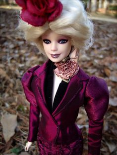 """Effie Trinket Repainted/Hair Restyled Barbie Doll in Reaping Fuchsia Dress Costume from """"The Hunger Games"""" - by Morgan May @ Stardust Dolls - http://www.stardustdolls.com"""