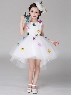 Ball Gown Asymmetrical Flower Girl Dress - Cotton Lace Satin Sleeveless Scoop Neck with Bow(s) Lace Cheap Flower Girl Dresses, Dresses Kids Girl, Kids Outfits, Girls Dresses Online, Butterfly Dress, Fairy Dress, Pageant Dresses, Toddler Dress, Tutu