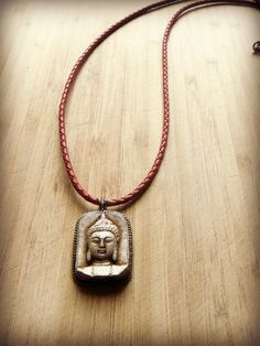 Tribal Buddha Pendant Necklace with Red by sweetfreedomshop