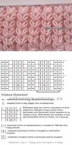 """Lace knitting pattern """"koloski"""" (ears of wheat) ~~ Knit 4th row below; slip stitches with yarn in front; twisted stitches"""