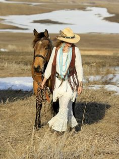 "~ The beautiful, open west.  Land everywhere, interspersed with ""watering holes"".  No one for miles around.  Love the Brit West turquoise jewelry, leather fringed vest, lace skirt, hat & boots.  I love that the best way to travel is horseback. ~"