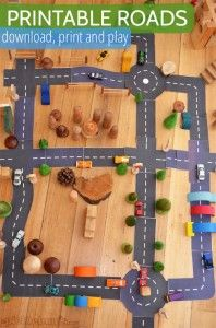 Printable roads! Little Man loved these, need to print on card stock and laminate so we can use them over and over.