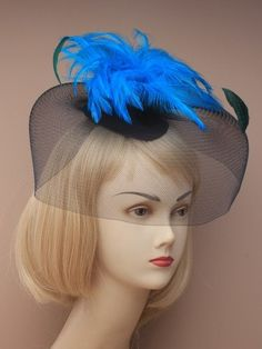 Blue Fascinator with large black net and by ClarasBoutiqueUSA, $19.00