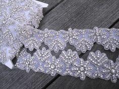 2 Wide Handmade Clear Glass Rhinestone Crystal by FabricBistro