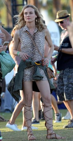 Diane Kruger donned a cheetah-print dress and tan gladiator sandals for day 1 of the second weekend of Coachella Music and Arts Festival on April Diane Kruger Troy, Festival Wear, Festival Fashion, Coachella Celebrities, Amazing Amy, Beautiful Actresses, Beautiful Celebrities, Star Show, Mannequin