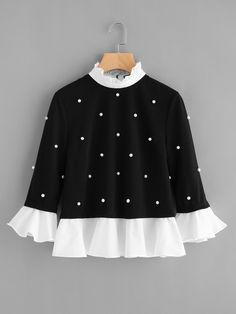 SheIn offers Contrast Frill Trim Pearl Embellished Top & more to fit your fashionable needs. Source by mabellanlara de moda Teen Fashion Outfits, Fashion Kids, Hijab Fashion, Trendy Outfits, Kids Outfits, Fashion Dresses, Cute Outfits, Womens Fashion, Fashion Design