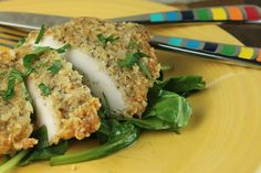 Crispy, Parmesan chicken gets a makeover with a crunchy almond coating, leaving you with crunchy, flavorful chicken you can feel good about.