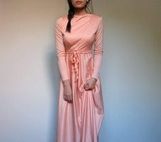Peach Maxi Dress Long Sleeve Vintage 70s Gown Party Dress Floor Length Long Draped - Extra Small XXS/ XS. $62.00, via Etsy.