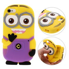 Coque Silicone 3D Minions pour iPhone 4/4S - Violet