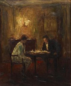 Chess Game - Otto Eduard Pippel German 1878-1960 oil on canvas. 62.5 x 52cm.